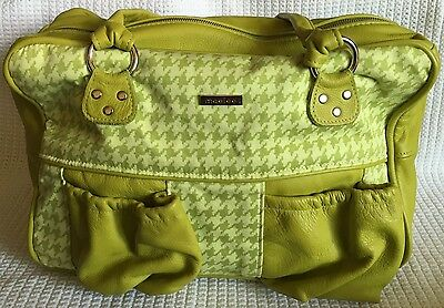 MAELEE Grace Green Houndstooth Diaper Bag Purse Baby Bag-MINT