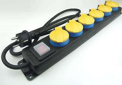 6-fach Outdoor Schuko-Steckdosenleiste gelb beleuchteter Schalter IP44 Aussen