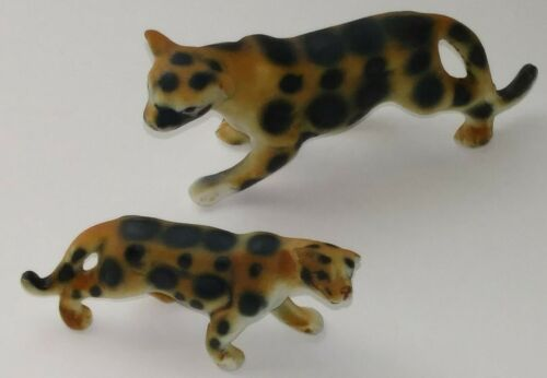 Vintage Bone China Bisque Cheetah Miniature Family Mother Cat &Cub Set Leopard