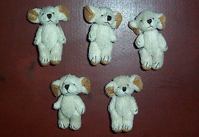5 Mini-Mäusebärchen- hell/beige- super Ausdruck/Zustand - 5 cm - neu