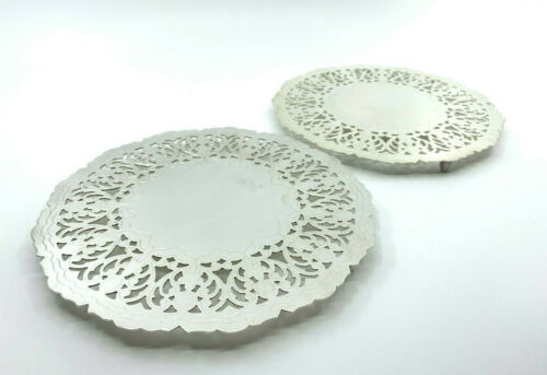 "Vintage Silver Plate Ornate Floral Round 7"" Trivet Hot Plate Denmark Footed"