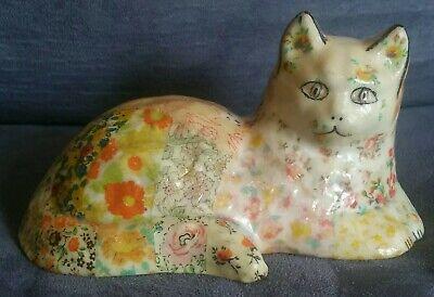 Vintage Ceramic Glazed Fabric Decoupage Large Cat Figurine floral Folk Art Ceramic Glazed Cat Figurine