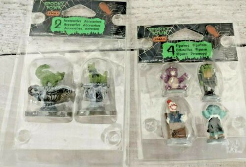 Lemax Spooky Town Lot Of 2! Scary Toys & Cat Topiary Figurine Set