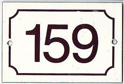 Brown French house number 159 door gate plate plaque enamel steel metal sign