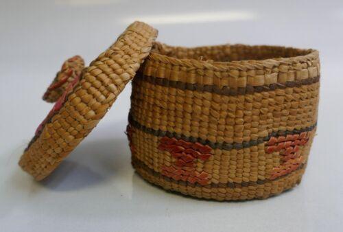 Vintage Haida Native Hand Woven Rattle Top Basket