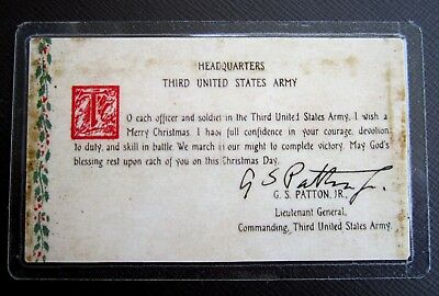 "GEN.GEORGE S. PATTON'S ""BATTLE FOR BASTOGNE"" PRAYER CARD WWII with AUTOGRAPH"