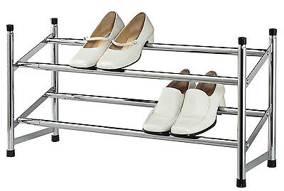 Expandable Space Saving Two Tier Chrome Bedroom Closet 8 Pair Shoe Rack Home & Garden