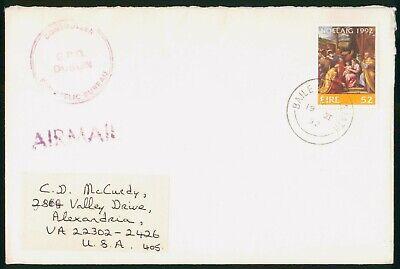 MayfairStamps Ireland 1992 Christmas Stamp to Alexandria Virginia Holiday Cover