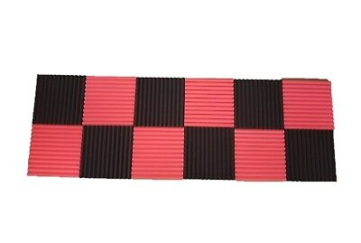 - 12 pcs Black/Red Acoustic Foam Black Panel Tile Wall Studio Sound Proof 12x12x1