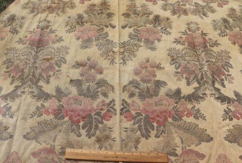 "Antique French c1900 Heavy Silk Brocade Fabric Sample~L-56"" X W-51"""