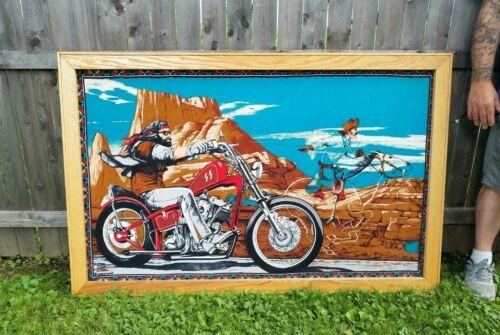 RARE David Mann Ghost Rider Tapestry Harley Easyrider Vintage Tapestry FRAMED