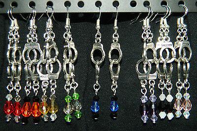 Silver Handcuffs Pierced EARRINGS : Police Thin Blue Line Crystal U CHOOSE - Handcuffs Earrings