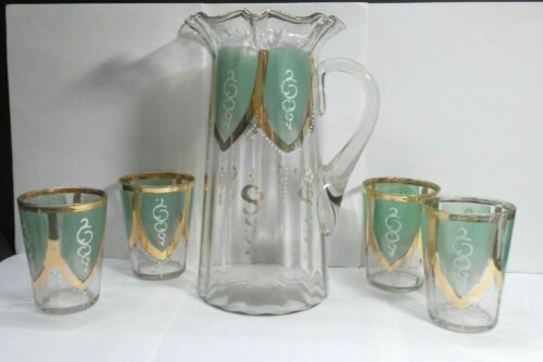 VICTORIAN HAND PAINTED WATER LEMONADE RUFFLE TOP PITCHER & 4 GLASSES