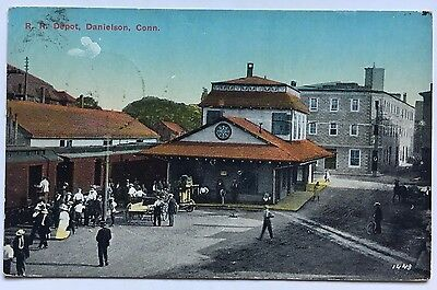 1915 Ct Postcard Danielson Conn  Railroad Rr Train Depot Station Div Back People
