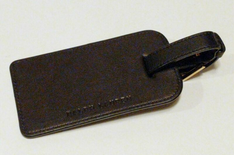 NEW RALPH LAUREN Leather Luggage Tag BLACK/SILVER BUCKLE