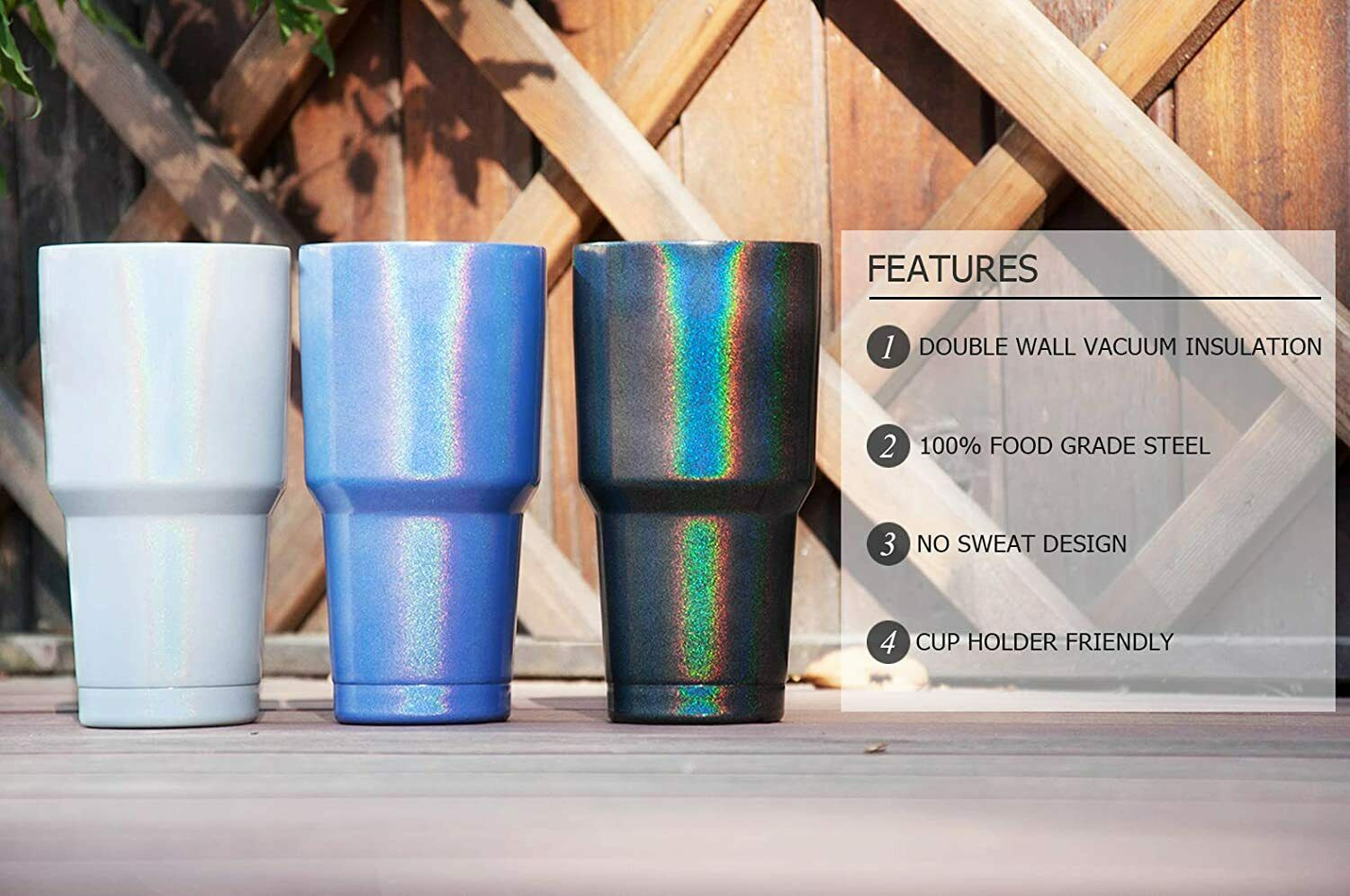 30Oz Stainless Steel Insulated Sparkle Tumbler Travel Mug wi