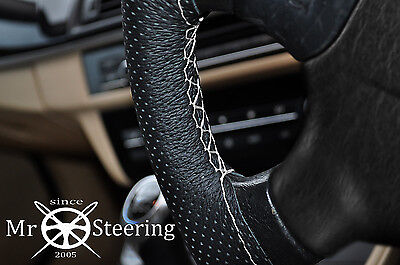 FOR PEUGEOT 3008 08+ PERFORATED LEATHER STEERING WHEEL COVER WHITE DOUBLE STITCH