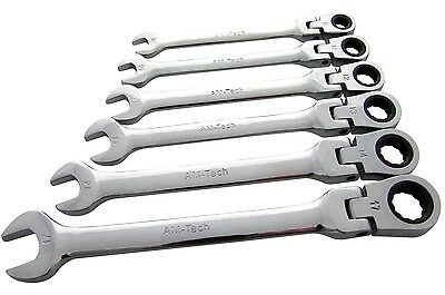 6PC FLEXIBLE HEAD GEAR RING RATCHET ACTION WRENCH SPANNER SET 8-17MM 72
