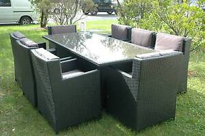 WICKER DINING SETTING 9 Piece Outdoor BBQ Rattan Furnitur Bangalow Byron Area Preview
