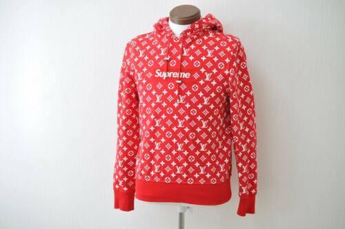 Louis vuitton supreme logo boite sweat capuche chemise rouge xxs lv auth ak145