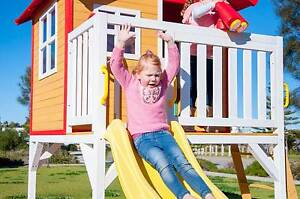 Elevated Wooden Cubby House Play House with Sandpit and Slide