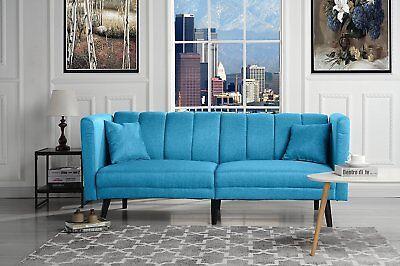 Mid Century Modern Plush Tufted Linen Fabric Living Room Sleeper Futon (Orange)