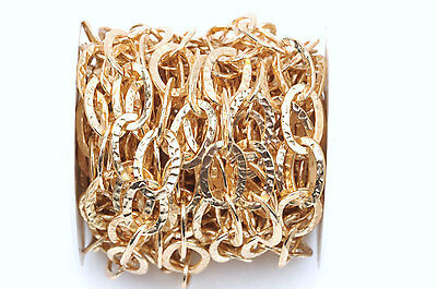 1 yard (3 feet) Light Gold Oval Hammered Link Chain, links are 21x14mm  FCH0348