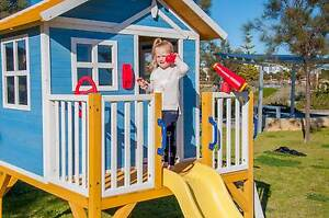 Kids New Outdoor Elevated Timber Wooden Cubby House with Slide