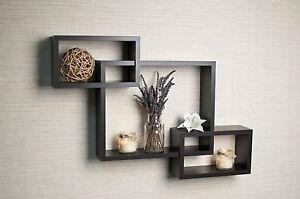 PRESALE Intersecting Rectangle Wooden Wall Shelf Display ledge Set of 3 black