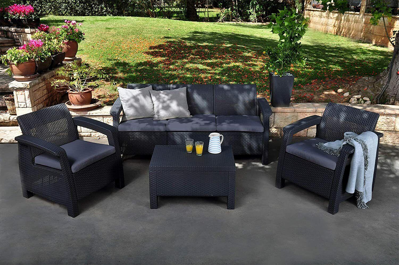 Garden Furniture - Keter Corfu 2, 4  or 5 Seat Lounge Set Plastic Rattan Garden Furniture