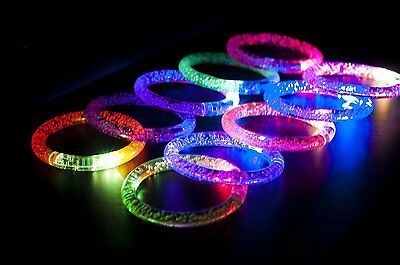 Light-Up Acrylic Bracelet Wristband LED Flashing Glow Blinking Rave Wear 12 PC - Glow Stick Wristbands