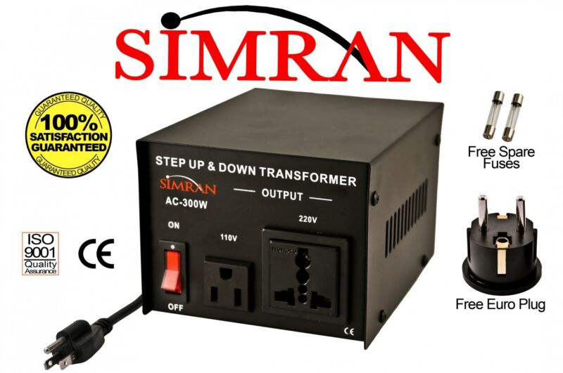 Heavy-Duty 300 Watt 110 to 220 Volt Voltage Converter Step Up Down Transformer