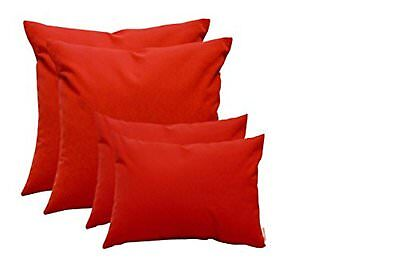 Set of 4 - In/Outdoor Universal Decorative Square Toss Pillows Canvas Jockey Red ()