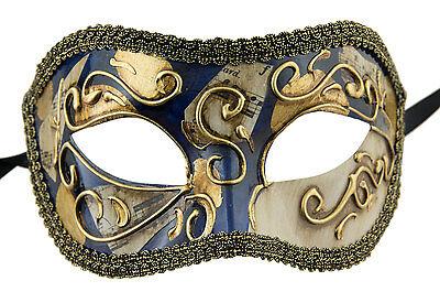 Mask Venice Colombine golden blue costume-ball masked - 640 -V79