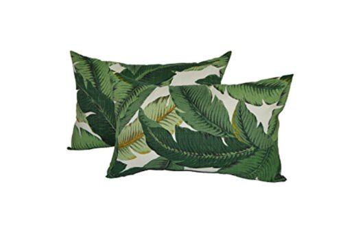 Set of 2 - Decorative Rectangle Throw Pillows - Green & Whit