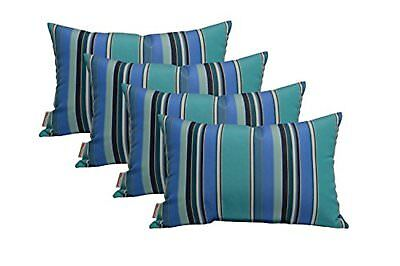 Set of 4 In/Outdoor Lumbar Toss Pillows - Universal Blue,Teal,Navy,White Stripe ()