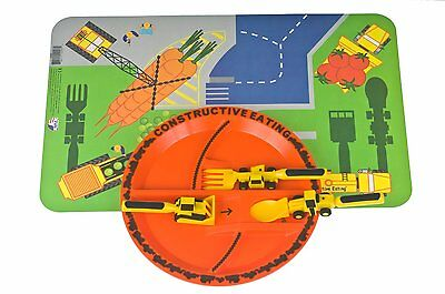Constructive Eating Plate, 3 pc Utensil set & Placement mat Great teaching tool