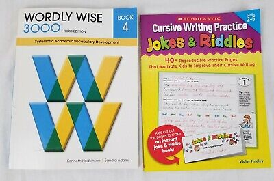 NEW Wordly Wise 3000 Workbook Book 4 3rd Edition + Cursive Writing Jokes Riddles