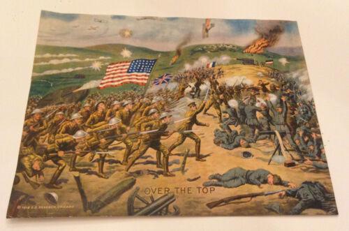 """WWI Original """"Over The Top"""" by E.G. Renesch Poster WWI Print Chromolithograph"""