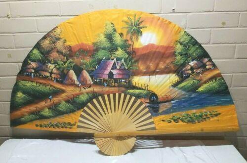 "Large Oriental Sunset Themed Bamboo Slat Fan- Wall Décor - Art 59""x34.5""!"