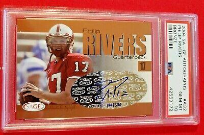 Phillip Rivers 2004 SA-GE Autographs Bronze /330 Rookie RC PSA 10 GMT POP 2 HOF? (Phillip Rivers Pop)