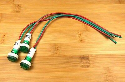 3 BBT 12 VDC Waterproof Low-Profile Green LED Indicator Lights