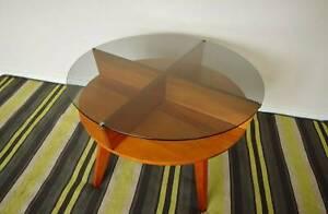 Mid century Vintage smoked Glass Top swivel coffee Table Retro