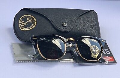 Ray Ban 3016 Clubmaster WO365A 51/21 Black  &Gold Frame 51mm(SALE)