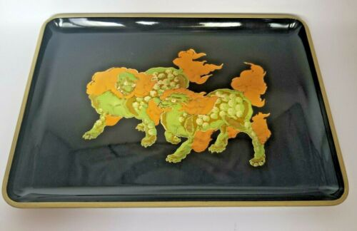 Vintage OTAGIRI Black Lacquerware Tray-Trinket Dish - Otagiri Japan Gold Fu Dogs