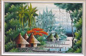 Peinture-Africaine-ancienne-sur-toile-vers-1950