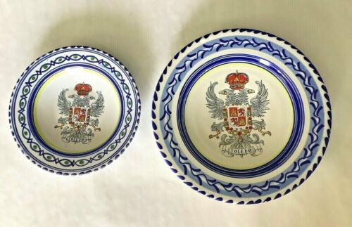 """Pair VTG Puente Arzobispo Hand-Painted """"TOLEDO  COAT OF ARMS"""" Spain Wall Plates"""