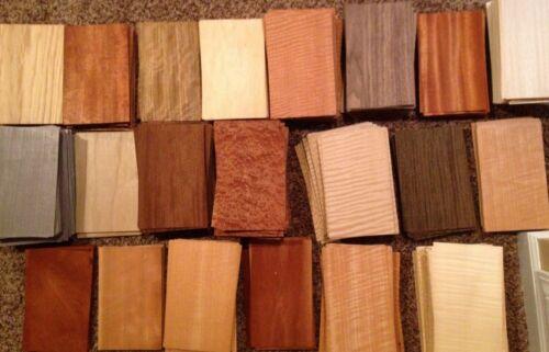 "WOOD VENEER 5"" x 8"" 65 pieces sheets mixed domestic exotic box variety art pack"