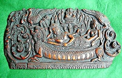 Vtg Buddhist Art Resin Wall Plaque Vishnu Reclining on Dragon - 14