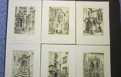 6 x Druck nach Federzeichnung von Paul Weigmann jeweils 27,2 x 20,5 cm